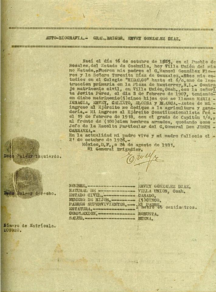 Auto Biografia General Ervey Gonzalez Diaz